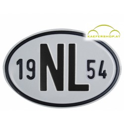 """Nationalitätsschild """"NL"""", 1954, Alu"""