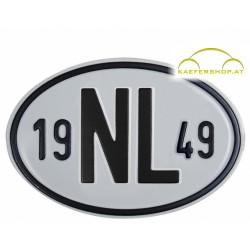 """Nationalitätsschild """"NL"""", 1949, Alu"""