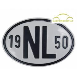 """Nationalitätsschild """"NL"""", 1950, Alu"""